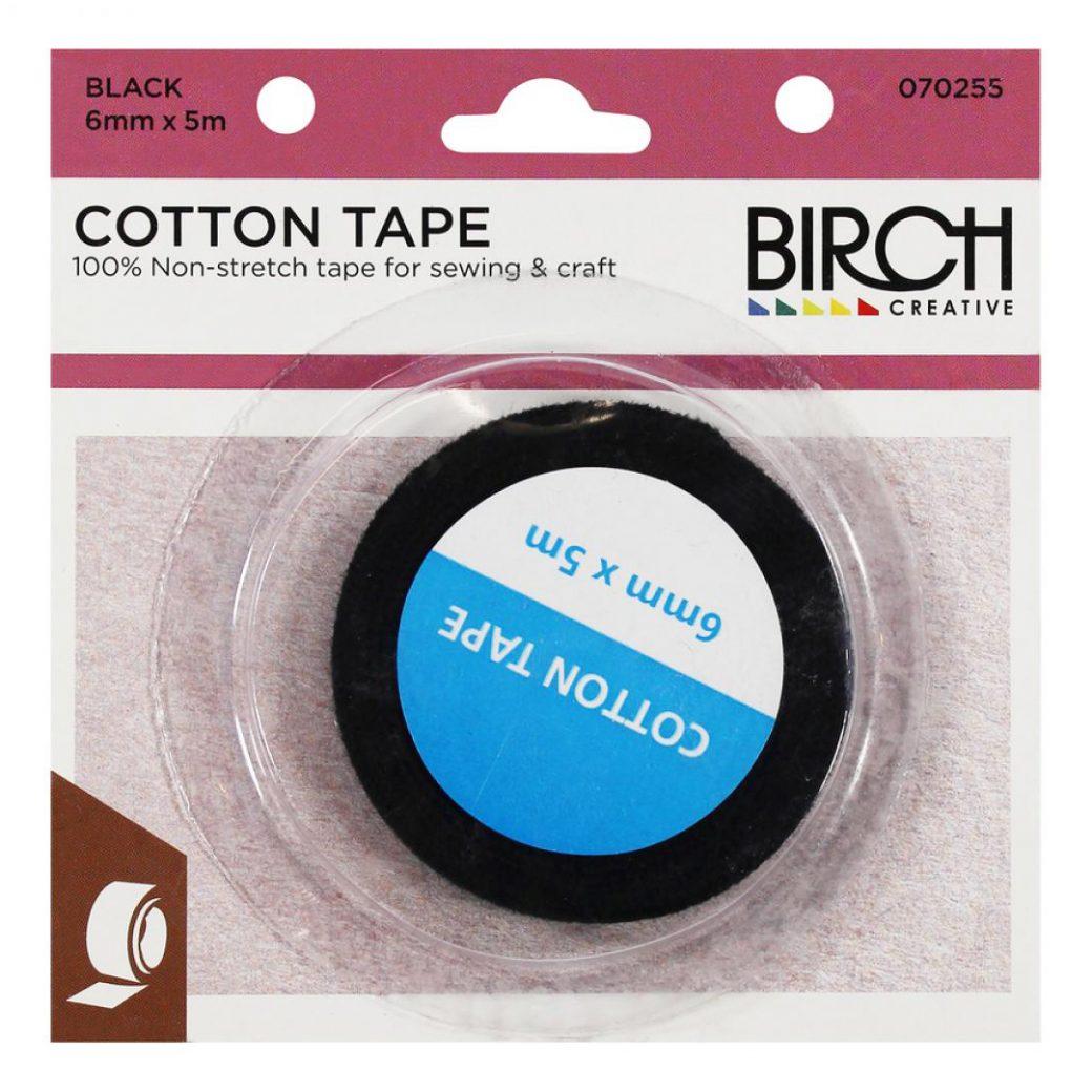 Cotton Tape Hemline Black 5m x 6mm